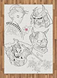 Kabuki Mask Area Rug by Ambesonne, Samurai Warrior and Japanese Woman Portrait Drawings Sakura Blossoms, Flat Woven Accent Rug for Living Room Bedroom Dining Room, 5.2 x 7.5 FT, Black White Pink
