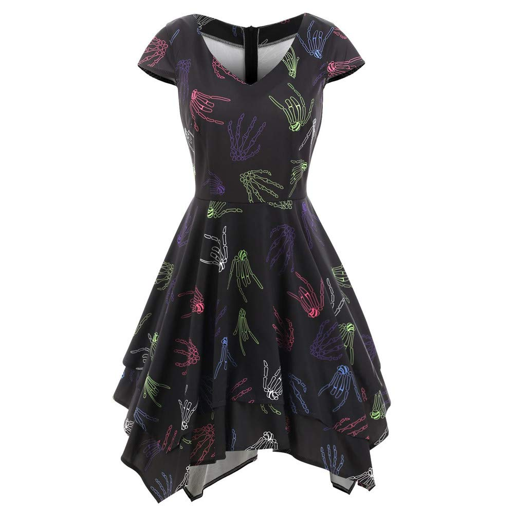 NREALY Women's Fashion Halloween Skeleton Hands Handkerchief Printed Gown Evening Party(S, Black)