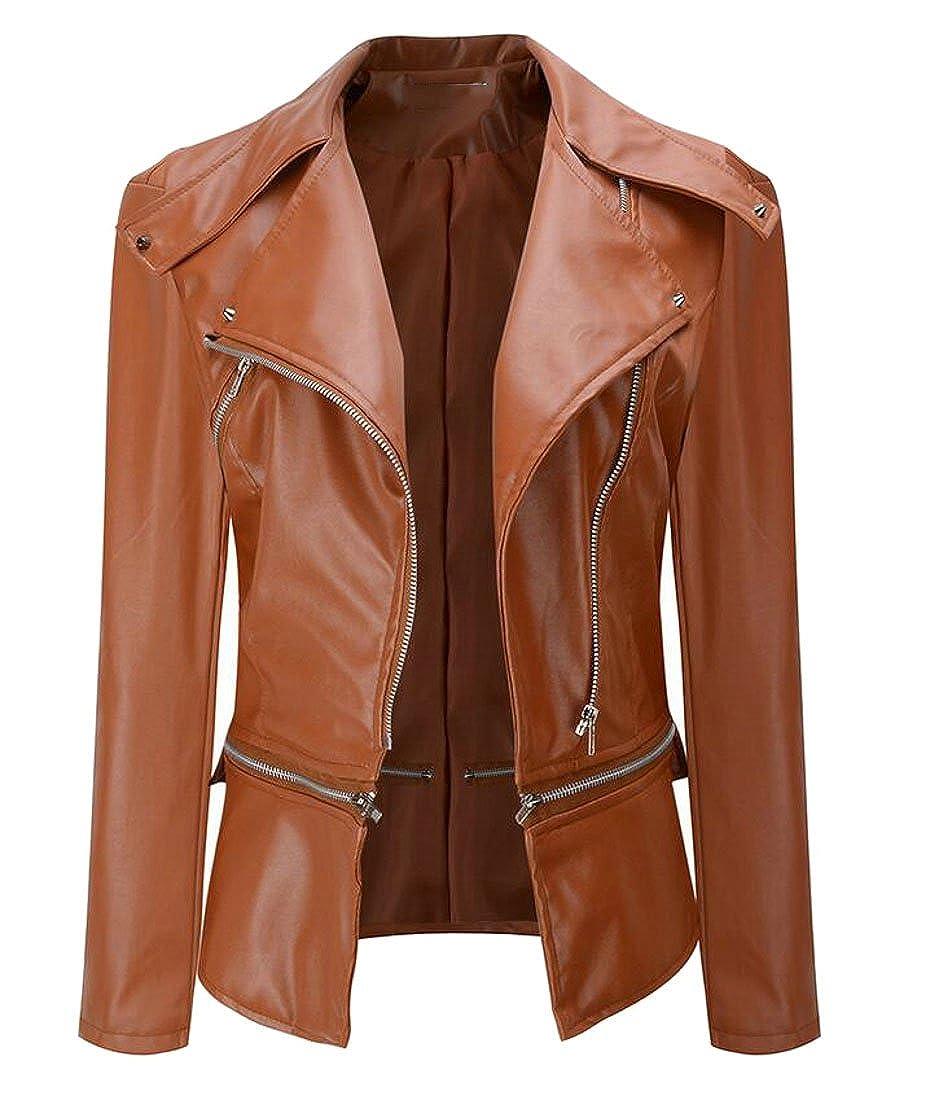 Zantt Women's Stylish Lapel PU Faux-Leather Zip up Moto Biker Bomber Jacket