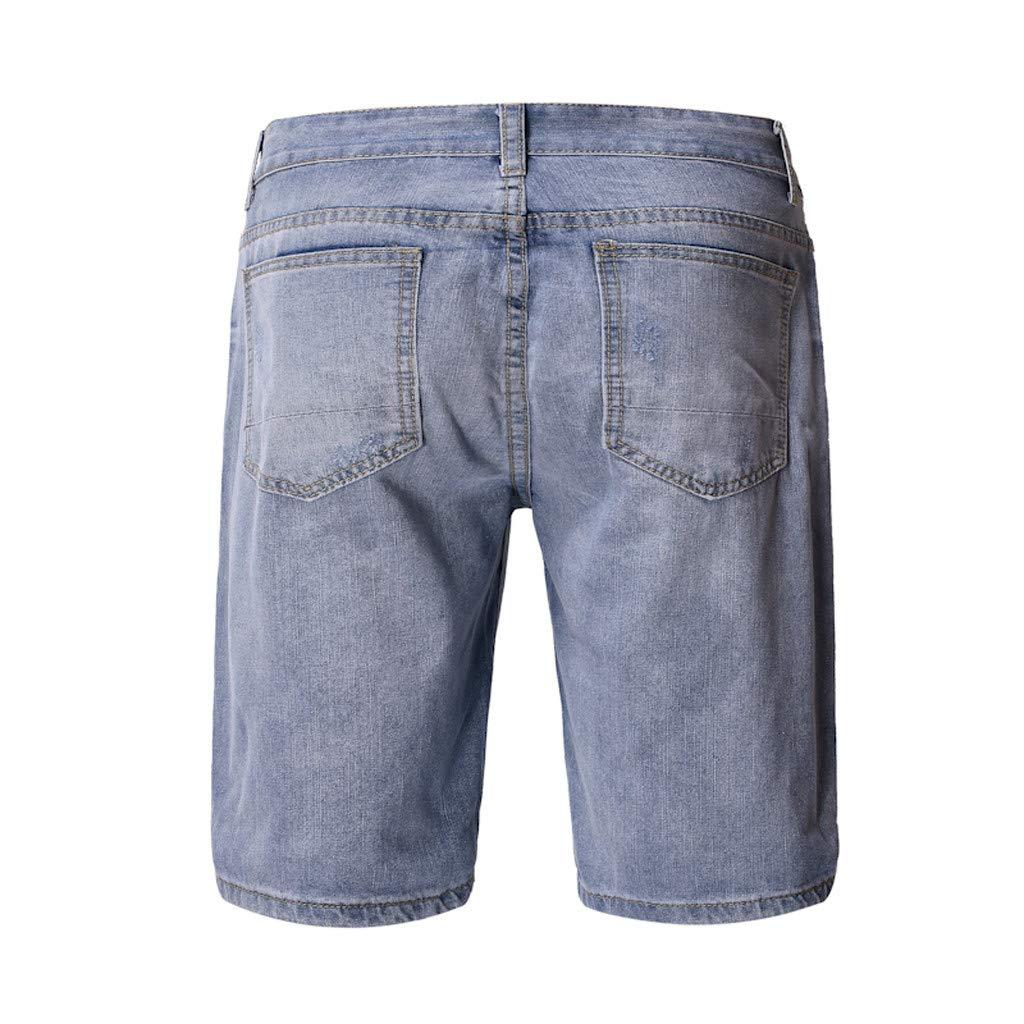 Willow S Summer Fashion Mens Hole Stretch Casual Print Slim Denim Shorts Pants Hiking Bodybuilding