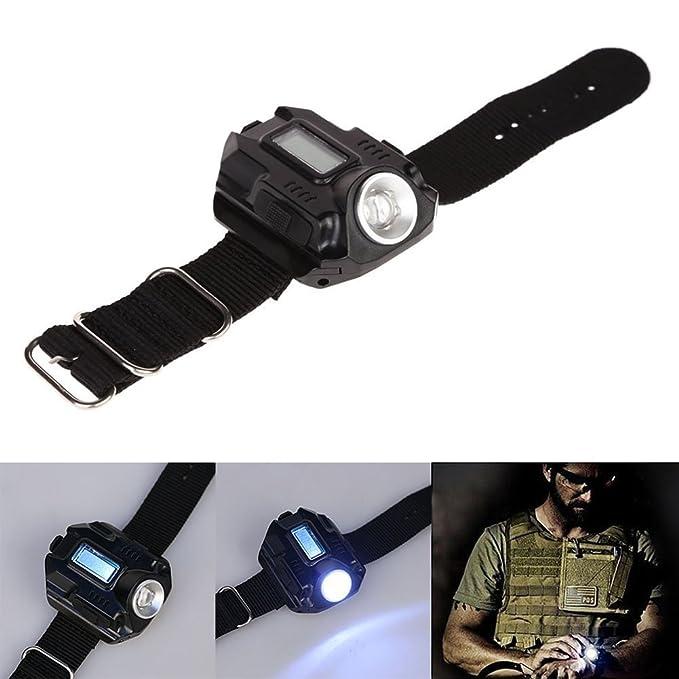 1 x Reefeel 3 W recargable linterna LED reloj de pulsera impermeable linterna (200 lm muñeca lámpara)