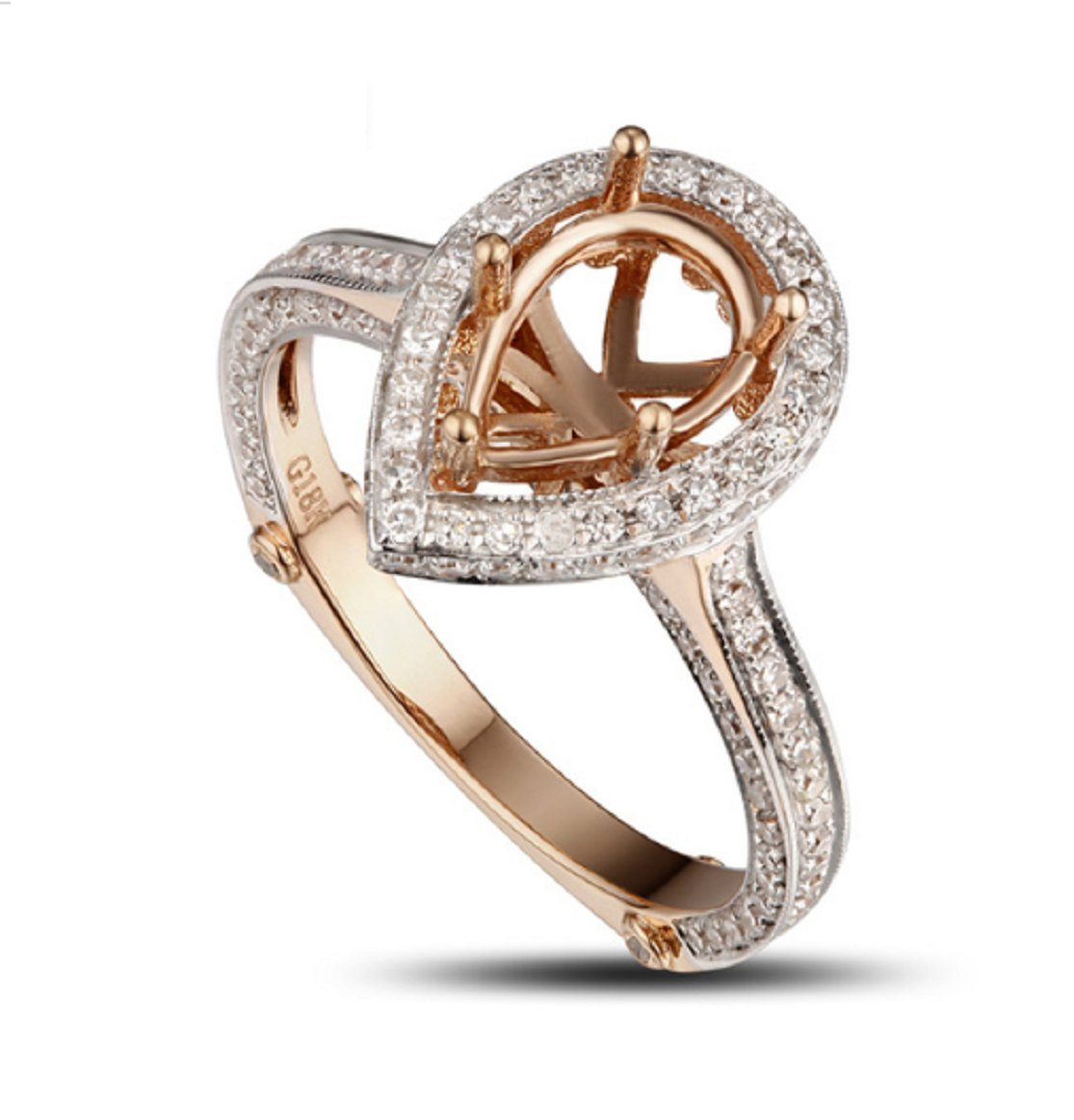 GOWE PEAR CUT 6x9mm SOLID 14CT ROSE GOLD Natural 0.95CT DIAMOND SEMI MOUNT RING