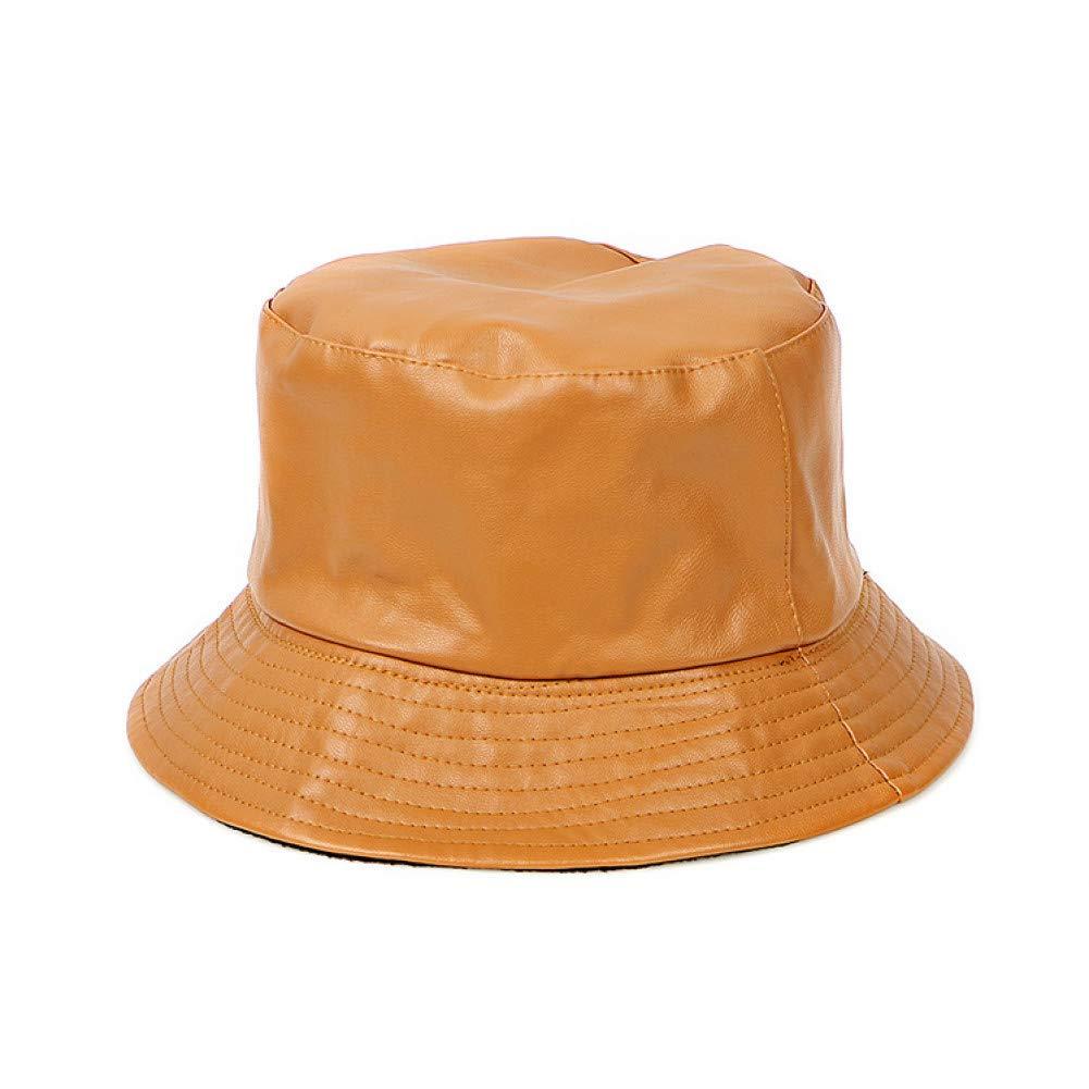 QEERT Chapeau Printemps 2019 Chapeaux De Seau Hommes en Cuir Solide Plat Noir Chapeau De Pêche Chapeau Femmes Casquettes