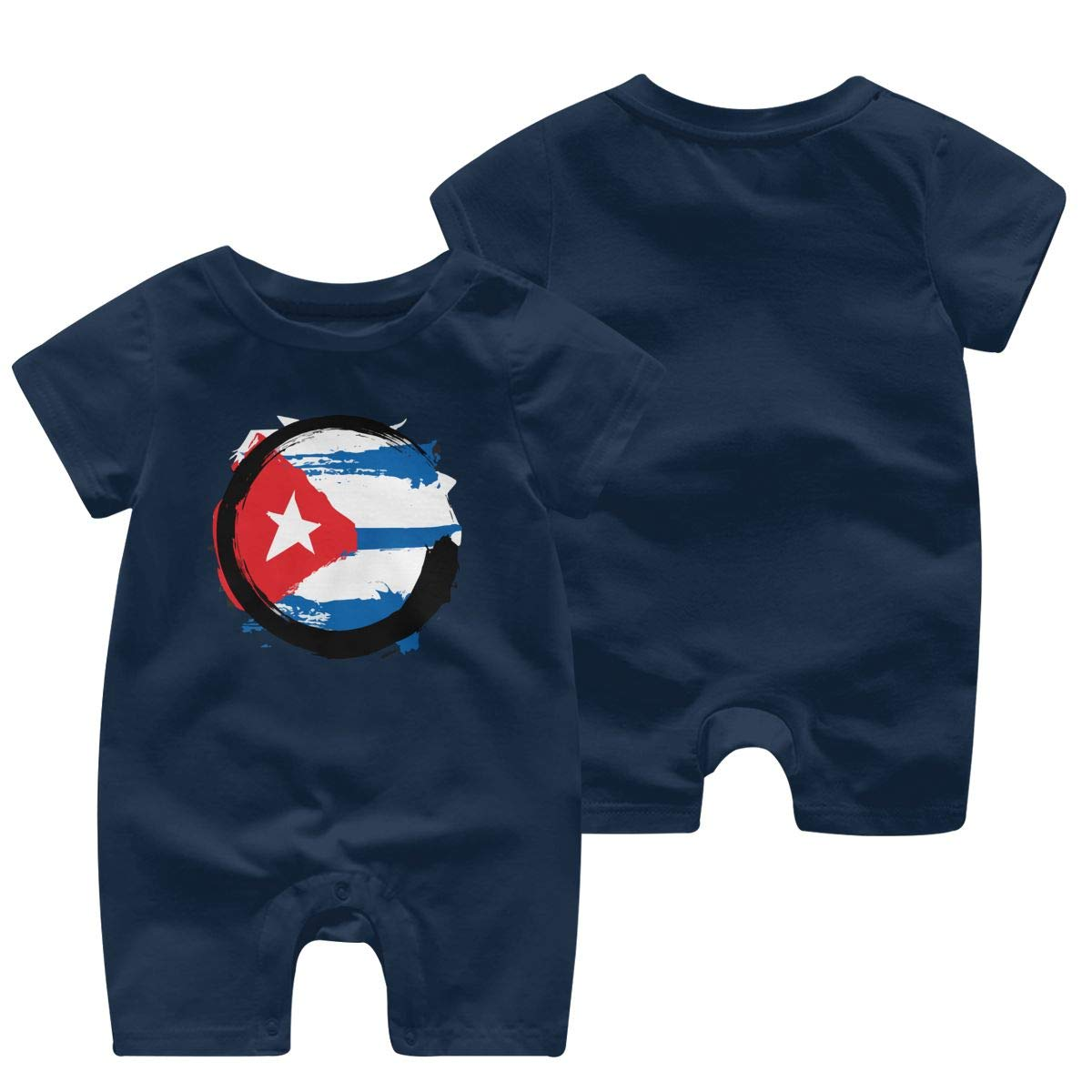 UGFGF/&3 Cuba Flag Zen Baby Boy Short Sleeve Romper Jumpsuit Baby Rompers 0-24 Months