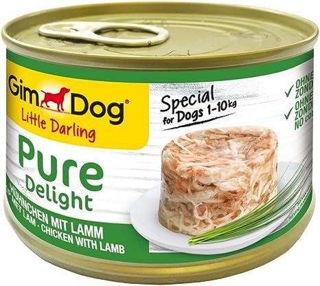 GimDog Pure Delight, pollo con cordero - Snack para perros rico en proteínas, con carne tierna en deliciosa gelatina - 18 latas (18 x 150 g)