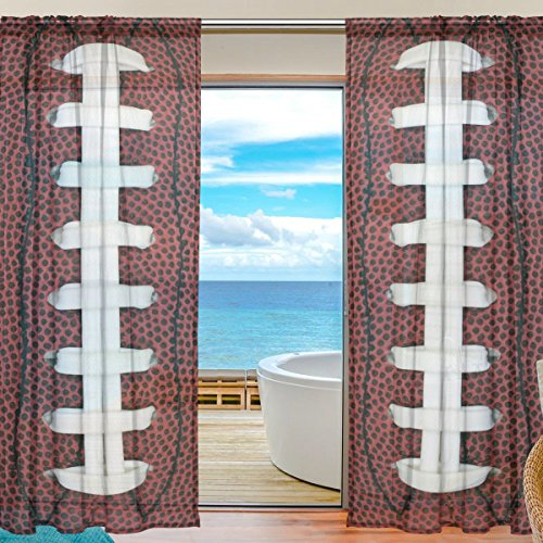 SEULIFE Window Sheer Curtain Sport Ball Football Voile Curtain Drapes for Door Kitchen Living Room Bedroom 55x78 inches 2 Panels by SEULIFE