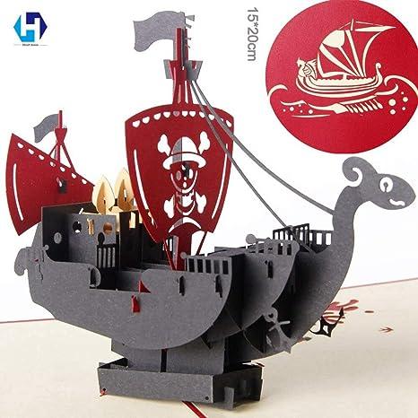 Tarjeta desplegable 3D, diseño de barco pirata en 3D, tarjetas ...