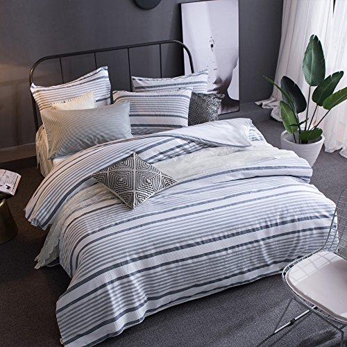 Merryfeel Cotton Duvet Cover Set,100% Cotton Yarn Dyed Striped Duvet Cover and Pillowshams, 3 Pieces Bedding Set - Full/Queen - Grey Blue (Curtains Duvet And Covers Matching)