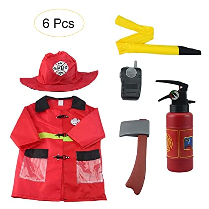 To Adopt Advanced Technology Special Section Boys Fireman Role Play House Playing Game Cosplay Fire Station Chief Costume Kids Children Gift Costume Dress-up Set 6 Pcs
