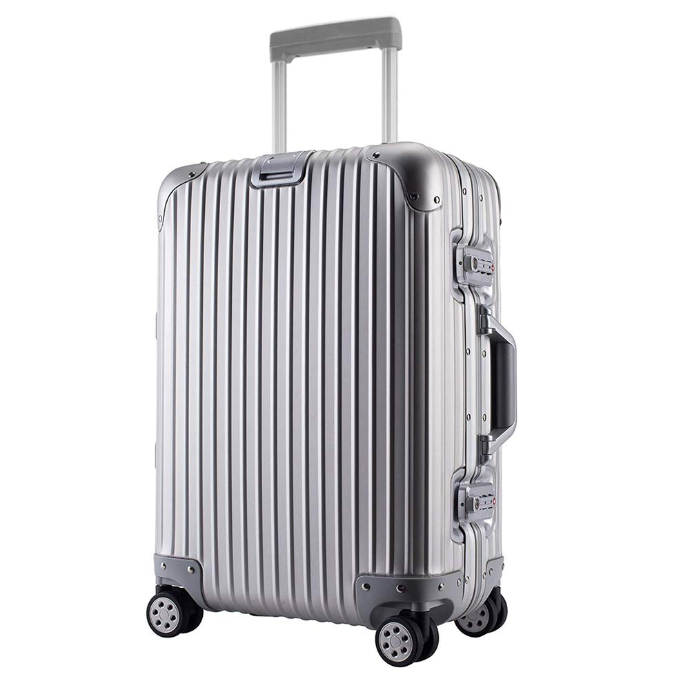 JINXIANGMEI アルミニウム合金スーツケース機内持ち込みスーツケース預け入れスーツケースTSAロック キャスター 海外旅行SZ1050 S シルバー B07K436B33