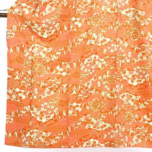 立ち向かう不倫航海リサイクル小紋 / 合繊オレンジ地袷小紋着物 / レディース【裄Mサイズ】(古着 リサイクル着物 小紋 リサイクル品)【ランクA】