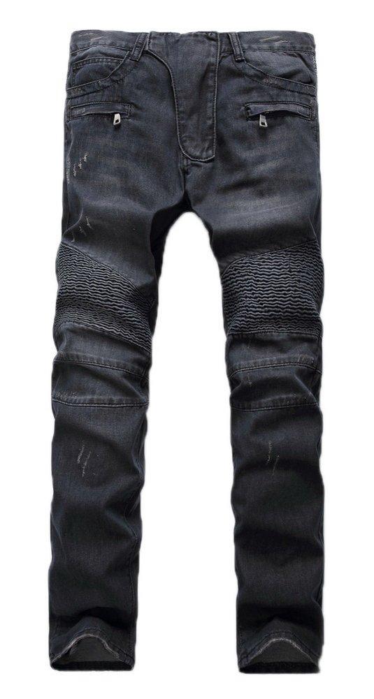 Tengfu Men's Fashion Straight Leg Ripped Stretch Slim Fit Biker Jeans Denim Pants Black