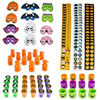 Mega Halloween Party Favors Assortment Set 96 Pieces BY Neliblu, Halloween Toys, Halloween Stickers, Jack o Lantern Coil Springs, Jack O Lantern Bubbles, Halloween Foam Party Masks and Stampers