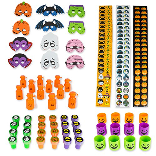 Mega Halloween Party Favors Assortment Set 96 Pieces BY Neliblu, Halloween Toys, Halloween Stickers, Jack o Lantern Coil Springs, Jack O Lantern Bubbles, Halloween Foam Party Masks and (Non Scary Halloween Treats)