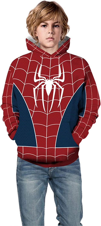 PIZOFF Spiderman 3D Printing Kids Hoodie Sweatshirt Marvel Comics Boys Girls Hoody