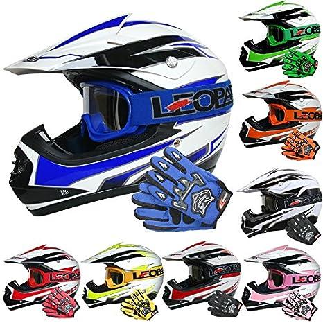 Leopard LEO-X16 *ECE 2205 Genehmigt* Kinder Motocross MX Helm Motorradhelm Crosshelm Kinderquad Off Road Enduro Sport + Handschuhe + Brille Touch Global Ltd