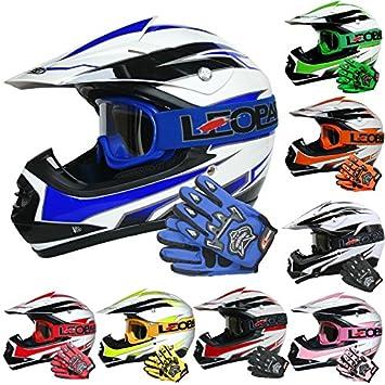Leopard LEO-X16 Casco de Motocross para Niños y Guantes y Gafas de Moto -