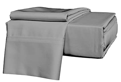 Sgi Bedding California King Size Sheets Luxury Soft 100 Egyptian Cotton Classic Collection Bed Sheet Set For Cal King Mattress Dark Gray Solid 1000
