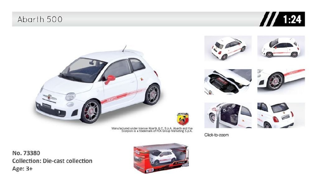 Amazon com : Die-Cast (1:24): Abarth 500 (No 73380) : Baby