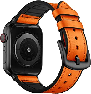 OUHENG Compatible with Apple Watch Band 44mm 42mm, Sweatproof Genuine Leather and Rubber Hybrid Band Strap Compatible with iWatch Series 6 5 4 3 2 1 SE, Orange Band with Black Adapter