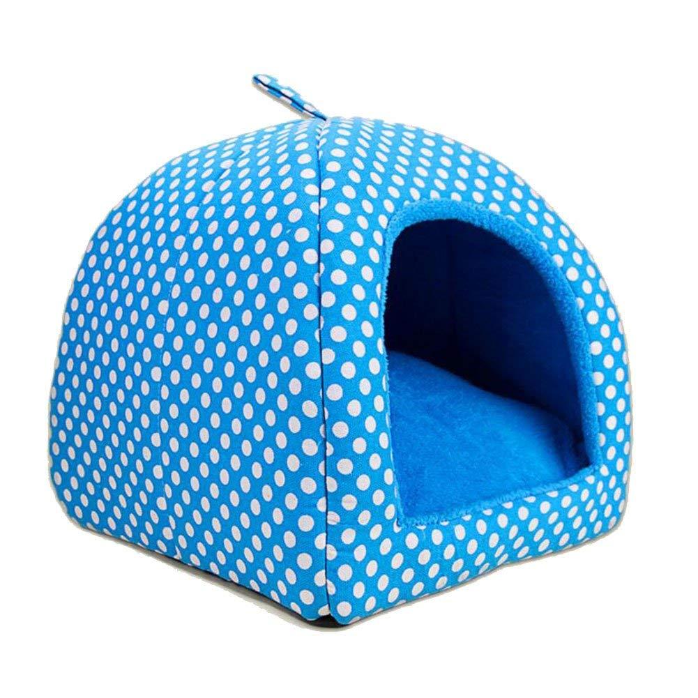 bluee S(252530cm)HeiPlaine Pet Sofa Kennel Yurt Dualuse Pet Cat Nest House Washable Mat Four Seasons Universal S M L (color   Red, Size   M(35  35  36cm))