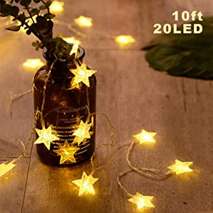ANJAYLIA 20 LED Star String Lights 10 FT Fairy Christmas Lights Battery Operated for Indoor & Outdoor, Party, Wedding and Holiday Decorations Warm White