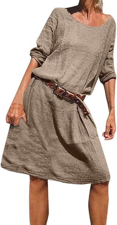 Vestido Playa Mujer Verano, Algodon Casual Diario Comodo y Suave ...