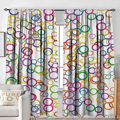 Petpany Kitchen Curtains Rainbow,Circles Rainbow Party Gatherings Spectrum Round Summertime Joy,Salmon Yellow Lavander Pink,Rod Pocket Curtains for Big Windows 100