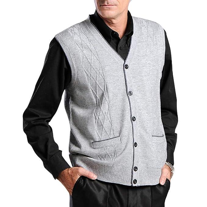 BrownFairwhale - Chaqueta de Punto para Hombre sin Mangas Chaleco Cballero de Sweater Jerséis Negocio para Primavera Otoño: Amazon.es: Ropa y accesorios