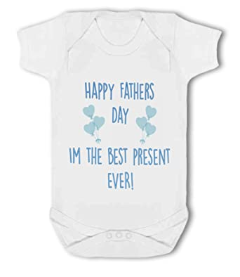 Baby Vest Happy Fathers Day personalised blue