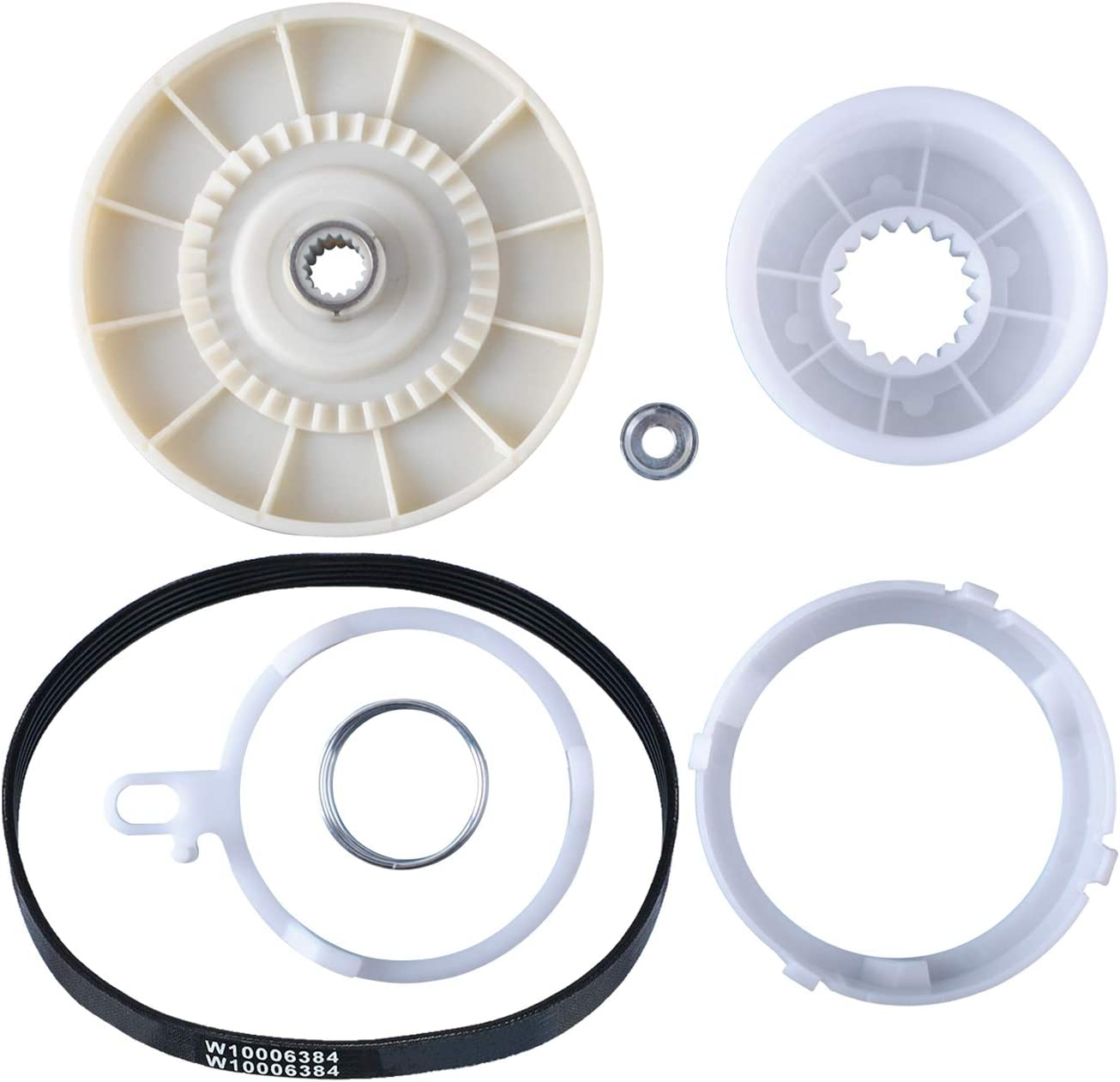 W10721967 Washer Pulley Clutch Kit with W10006384 Washer Drive Belt For Whirlpool, Replace W10006356, W10315818, PS10057144, W10006352, W10006353, W10006354, W10006382, W10326374, W10536113