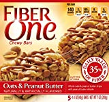 Fiber One Chewy Bar, Oats and Peanut Butter, 5 Fiber Bars, 7 oz (Pack of 12)