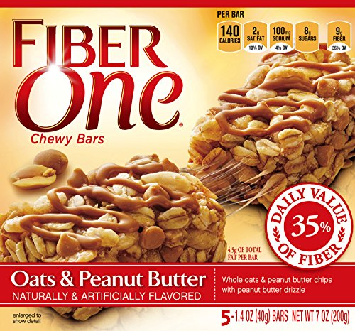 Fiber Peanut Butter - Fiber One Chewy Bar, Oats and Peanut Butter, 5 Fiber Bars, 7 oz (Pack of 12)