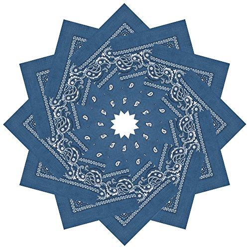 Denim Bandana - Alotpower 12 Pack Party Bandanas Handkerchiefs for Decoration,Denim Blue