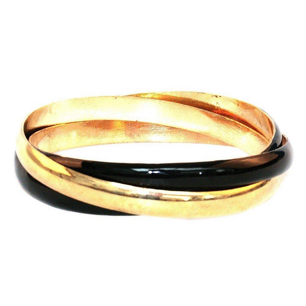 Joe Cool Bangle 3 Interlocked Black//Gold Made with Zinc Alloy