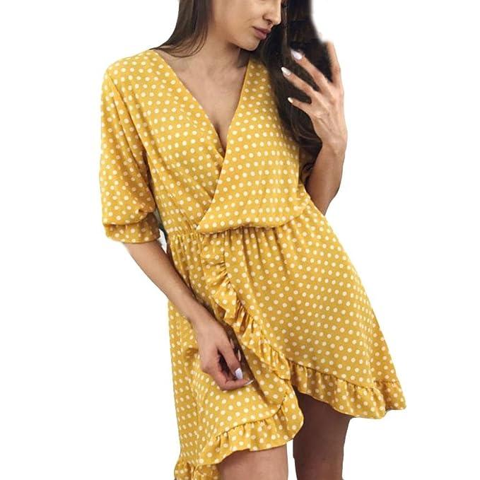 Cinnamou-mujer Suelto Casual Cuello redondo Mangas cortas Volantes Mini vestido lunares