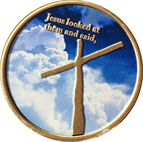 (With God All Things Are Possible Cross In My Pocket Sky Clouds Bronze Color Medallion Token)
