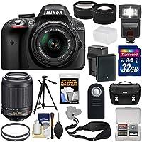 Nikon D3300 Digital SLR Camera & 18-55mm G VR DX II (Black) + 55-200mm VRII Lens + 32GB + Case + Battery/Charger + Tripod + Flash + Tele/Wide Lens Kit Benefits Review Image