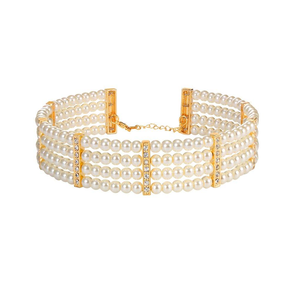Women Pearl Strands Choker Necklace Collar 18K Gold Plated Rhinestone Statement Necklace U7 Jewelry U7 N2551K