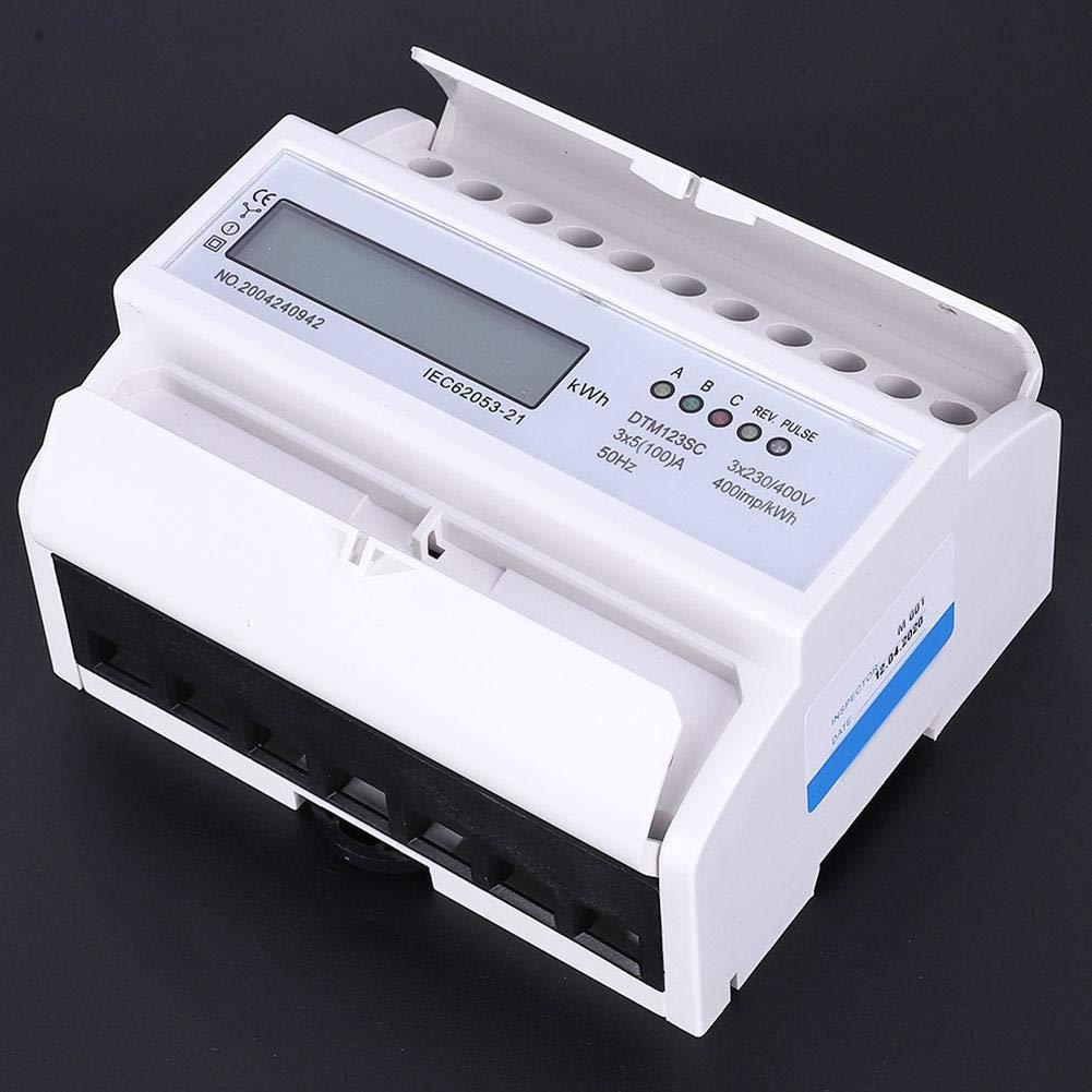 230//400V 5-100A Medidor de energ/ía el/éctrica Mootea consumo de energ/ía Medidor de energ/ía el/éctrica digital Medidor de 3 fases KWh con LCD