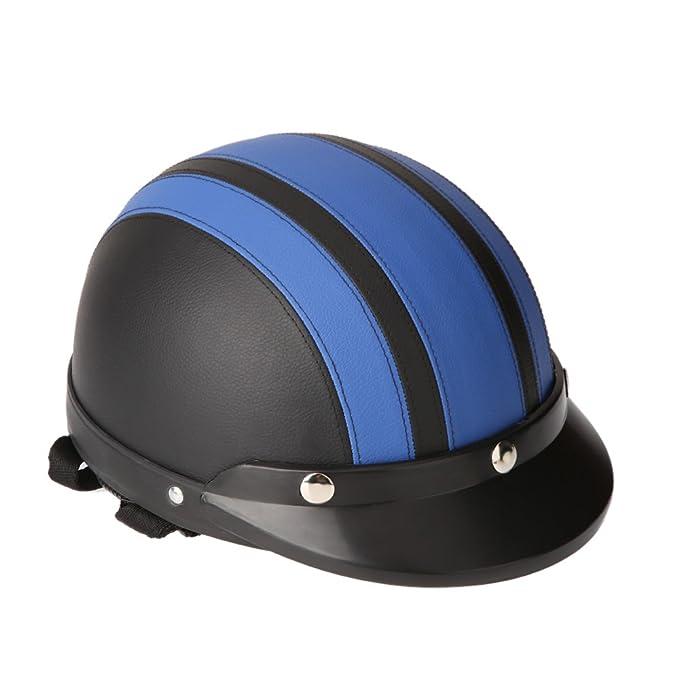 Casque KKmoon Motorfiets visage d/écouvert semi-cuir avec visi/ère anti-UV vintage r/étro 54-60 cm