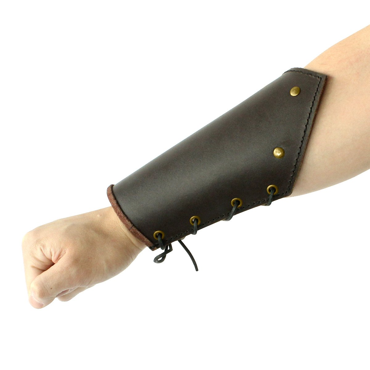 Traditional Plain Brown Leather Battle Bracer Arm Guard Pair - DeluxeAdultCostumes.com
