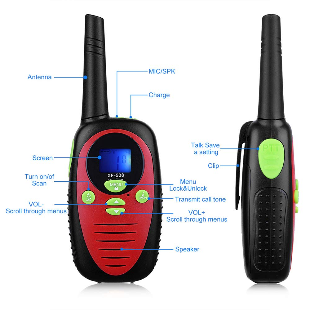 DJG Rechargeable Remote Two-Way Radio Walkie-Talkie 0.5w Children's Toy Walkie-Talkie 22-Channel Two-Way Radio(2packs) by DJG (Image #3)