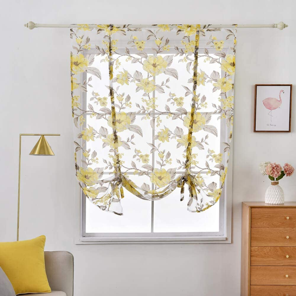 Floral Tulle Sheer Curtains For Living Room Bedroom Kitchen Shade Window Curtain