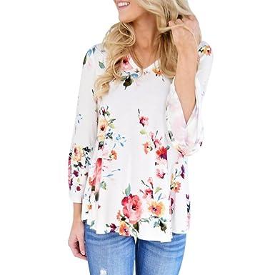 Internet Sexy Femme Chic T-Shirt Floral Tops Manches Longue Blouse Manches  Larges Femme Col V Arc en Polyester Chemise Tunique Haut Casual Lâche Tops  ... 7cf2b92efc7c