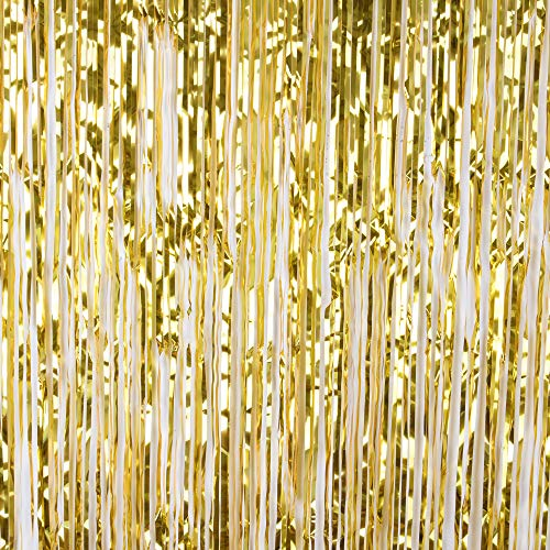 Metallic Tinsel Rain Curtain Foil Fringe Curtain Backdrop for Wedding Birthday Photo Background (Gold-2PCS) ()