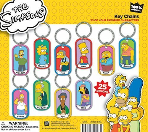 Simpsons Dog Tags - Fun Set of 18 - Key Chains and Necklaces, Complete with Ball Chains (Homer Simpson Necklace)