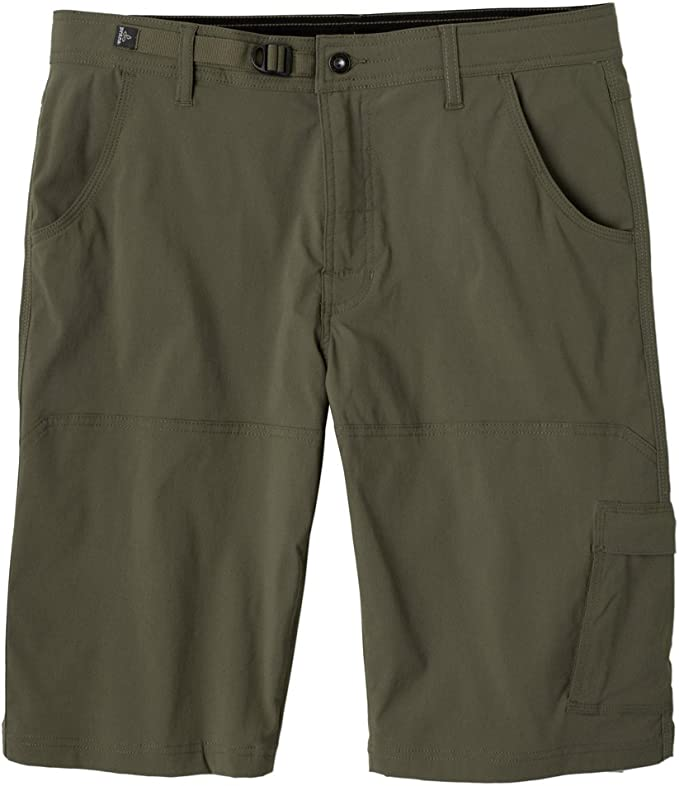 Image of a cargo short for men, probably knee-length, in gray color, button and side pockets seen.