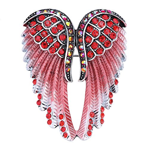Szxc Jewelry Women's Crystal Angel Wings Guardian Pin Brooches (Brooch Pin Stones)
