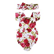 Infant Baby Girls Outfit Floral Jumpsuit Romper Playsuit + Headband Clothes (Red, 6-12 Months)